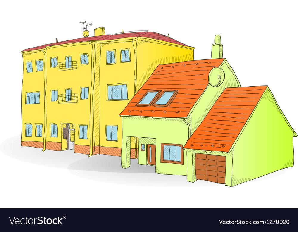 Handmade buildings vector image