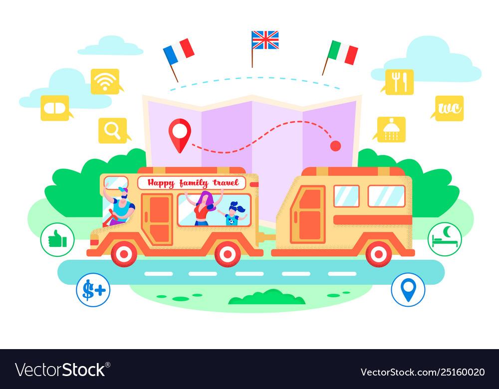 Happy family travel cartoon