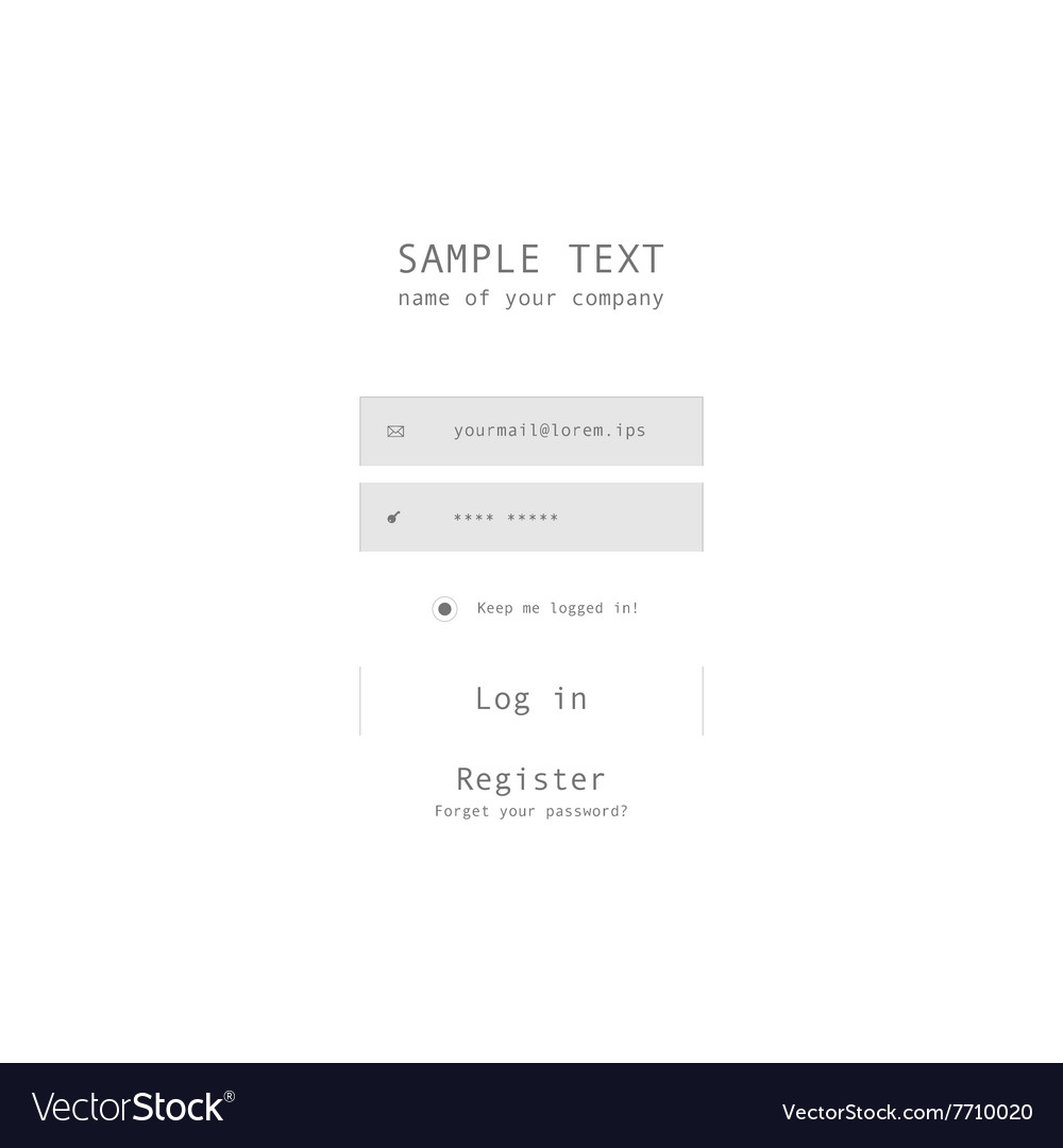 Login form page with white background