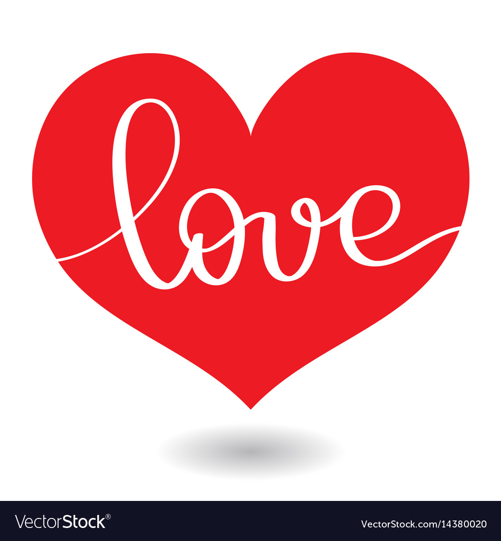 Love word in red heart calligraphy and vector image