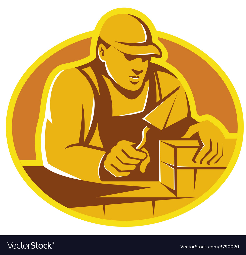 Mason brick layer construction worker vector image