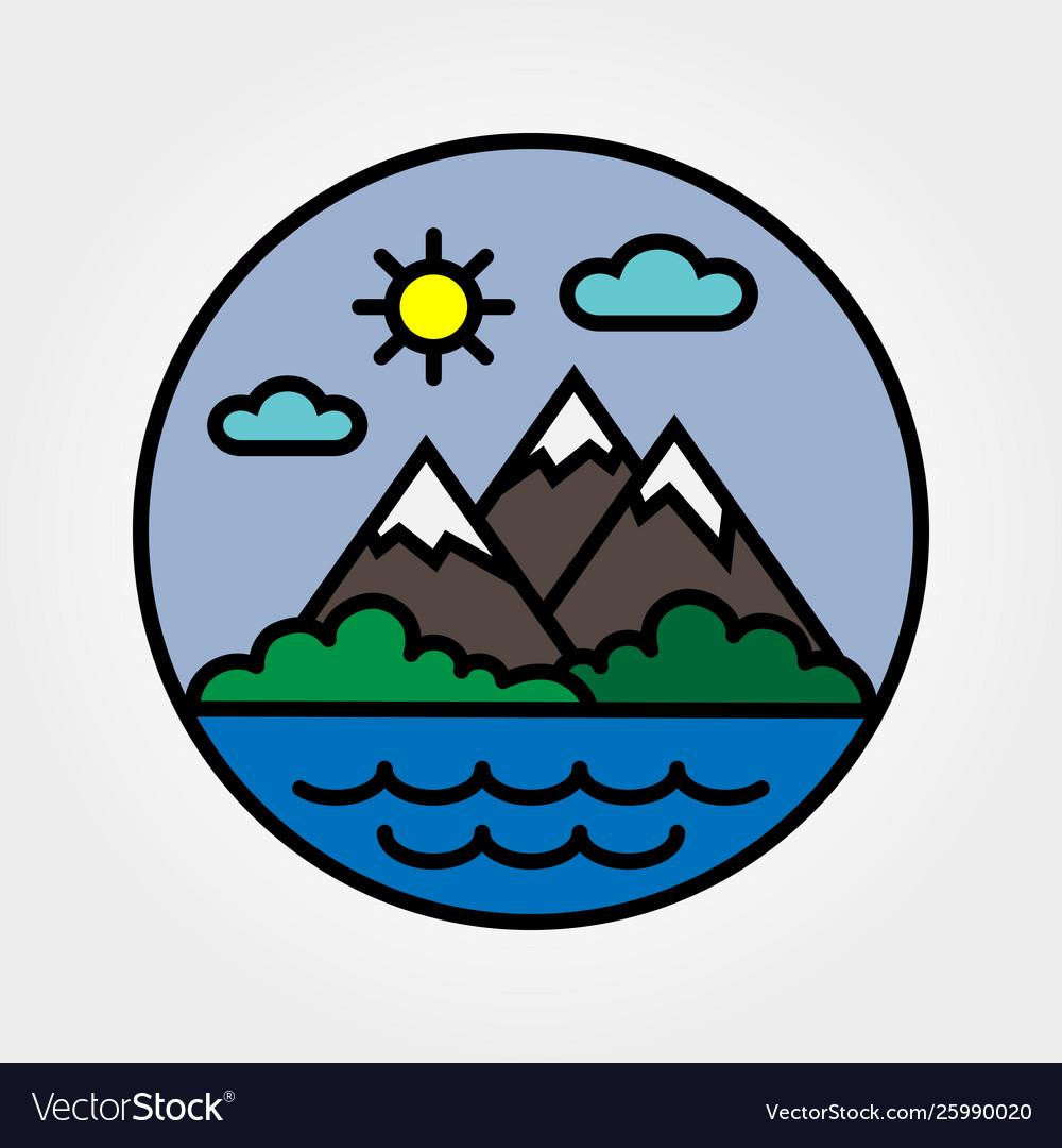 Mountains sun clouds flat icon logo