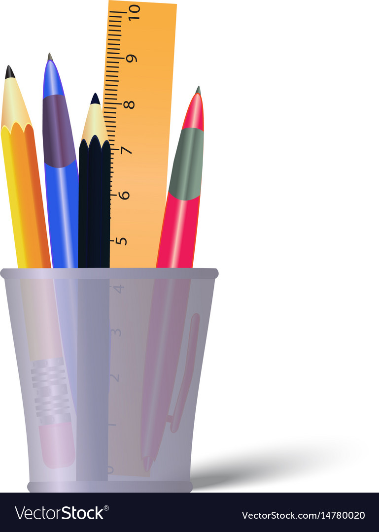 Pen and pencils container holder with pencils vector image