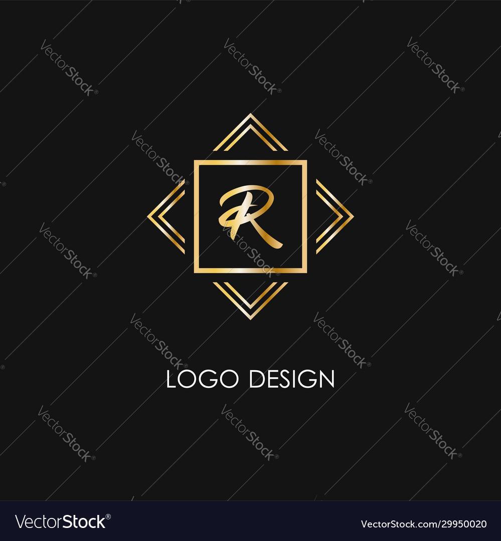 Premium style r letter logo gold symbol