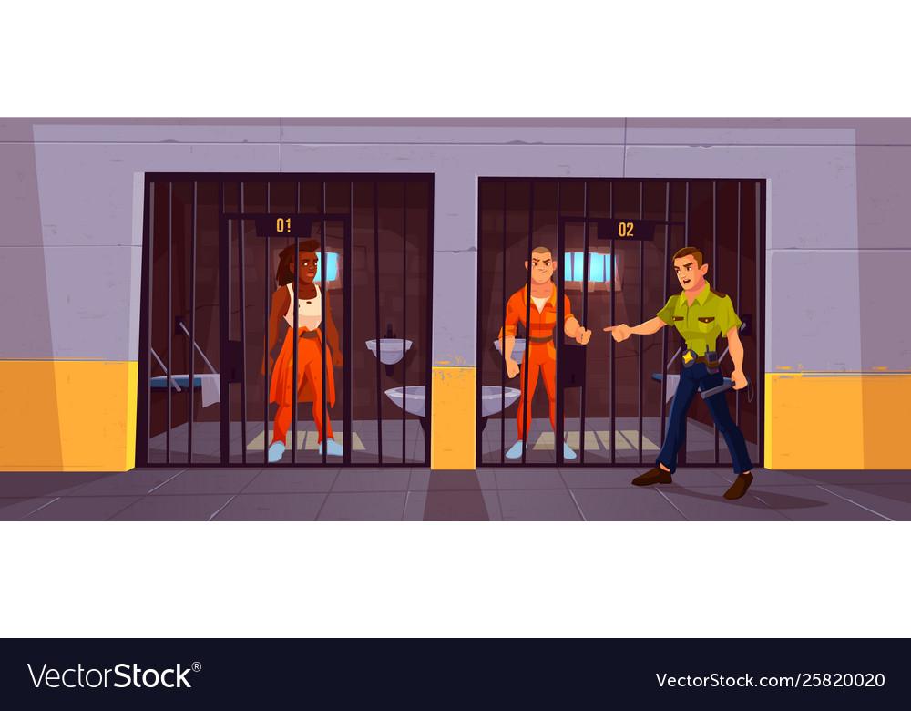 Prisoners in prison jail and policeman police