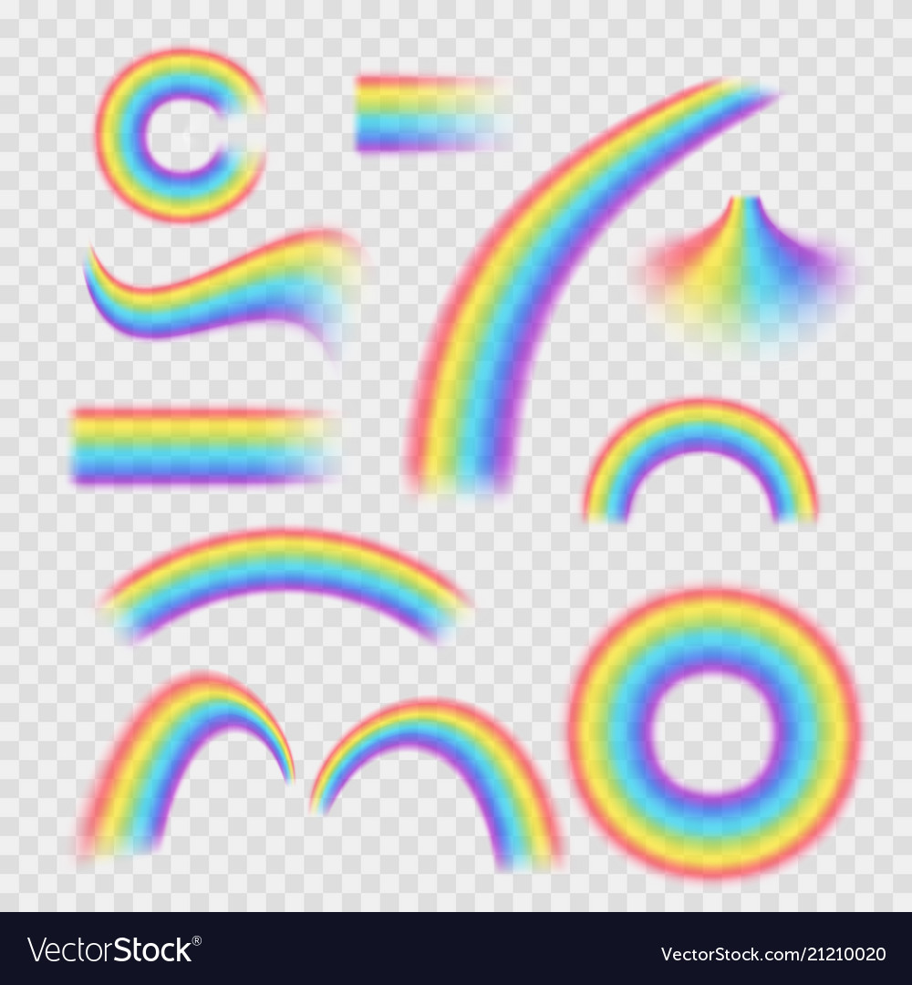 Realistic detailed 3d rainbows different shapes