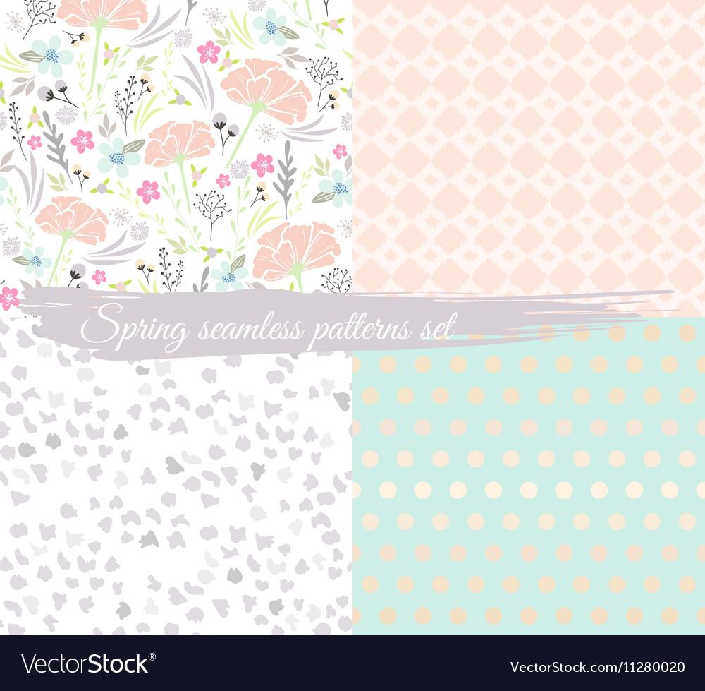 Seamless spring floral patterns set vector image