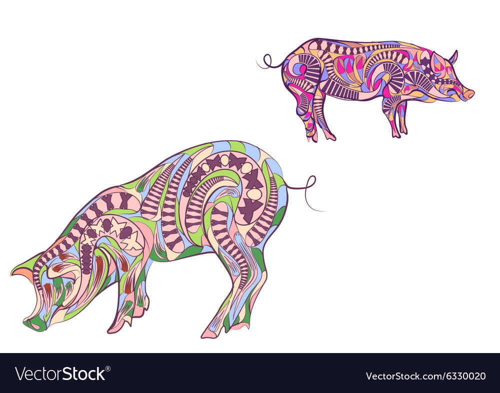 Two ethnic pigs vector image