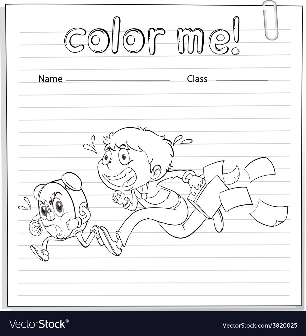 A worksheet with a boy and a clock running