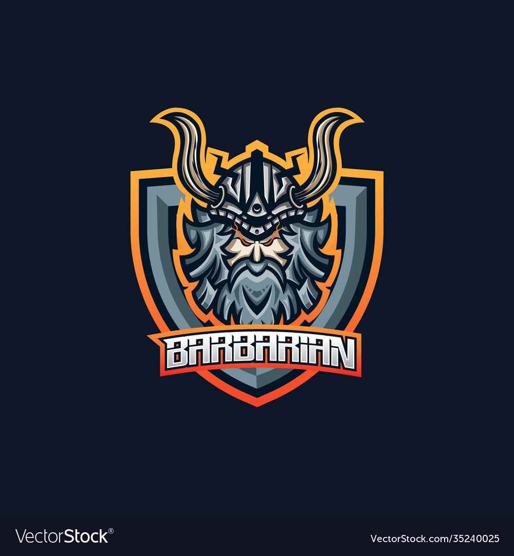 Barbarian esport gaming mascot logo template for