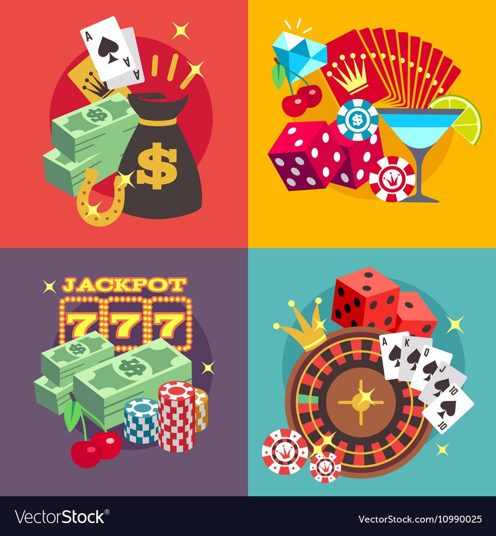 Casino gambling concept set with win money