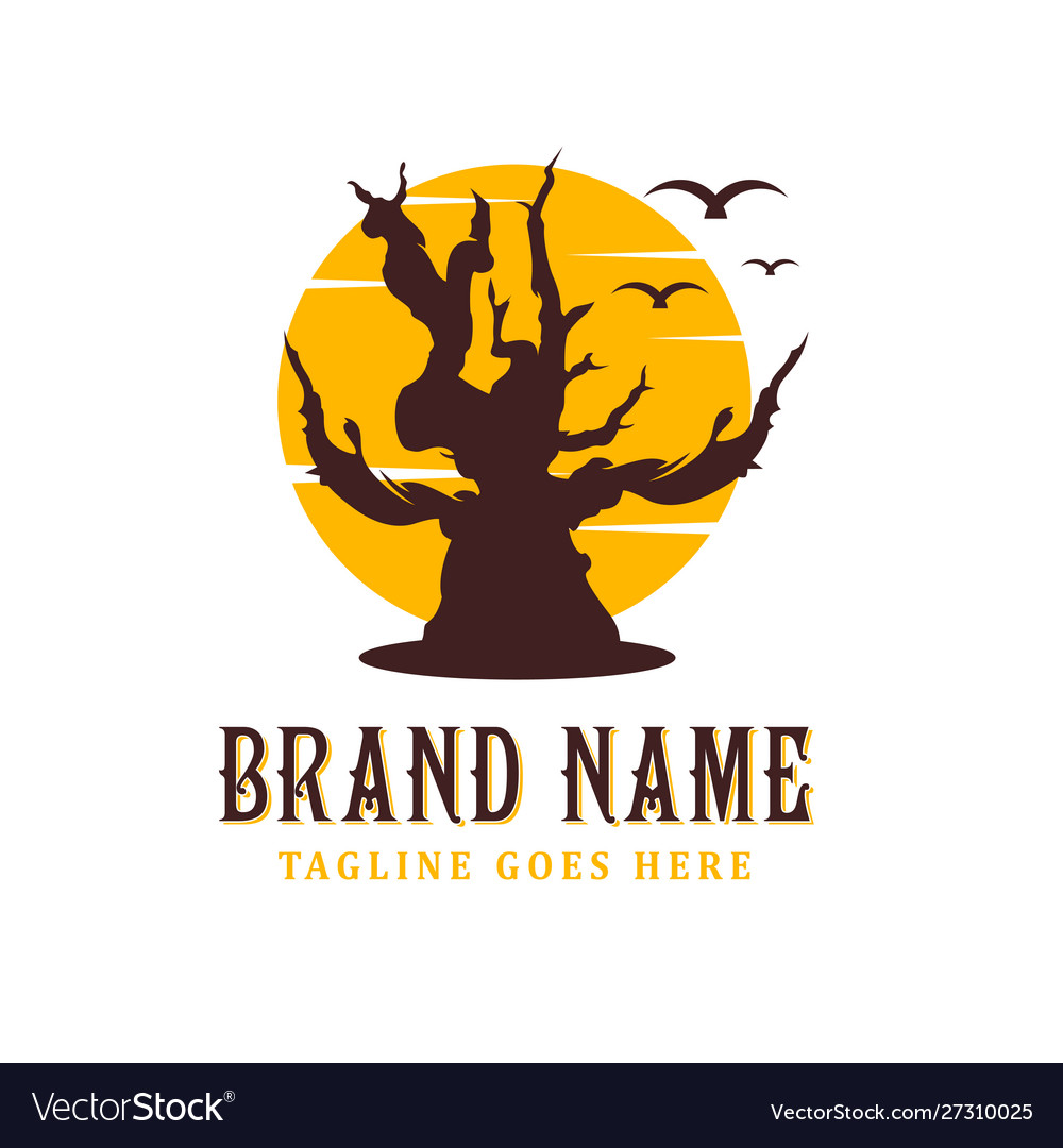 Dead tree logo design with a sun background