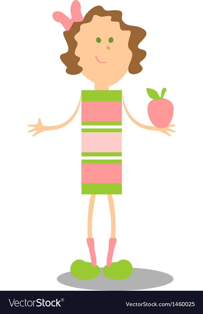 Girl walking color vector image