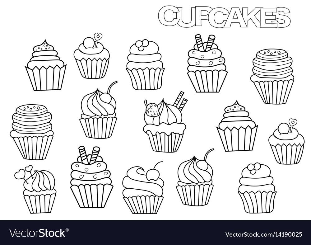 - Hand Drawn Cupcakes Set Coloring Book Page Vector Image