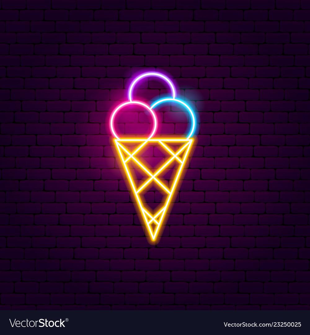 Ice cream neon sign vector image