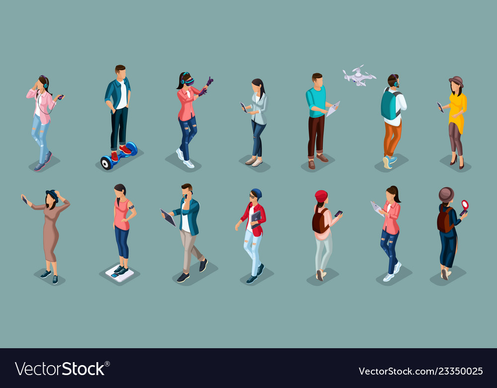 Isometric teenagers stylish students uses hi tech