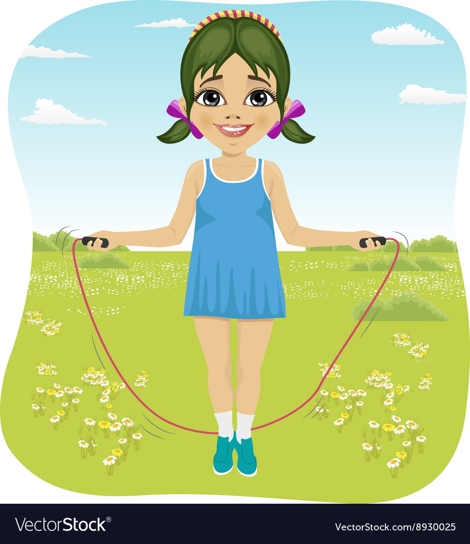 Little girl jumping with skipping rope in park