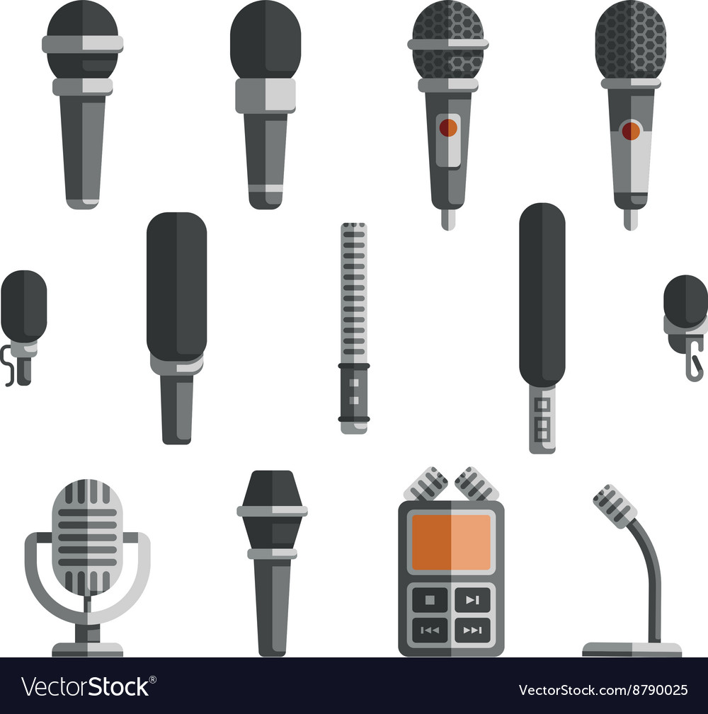 Microphones and dictaphone flat icons