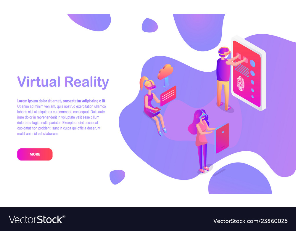 People in vr glasses virtual reality web page