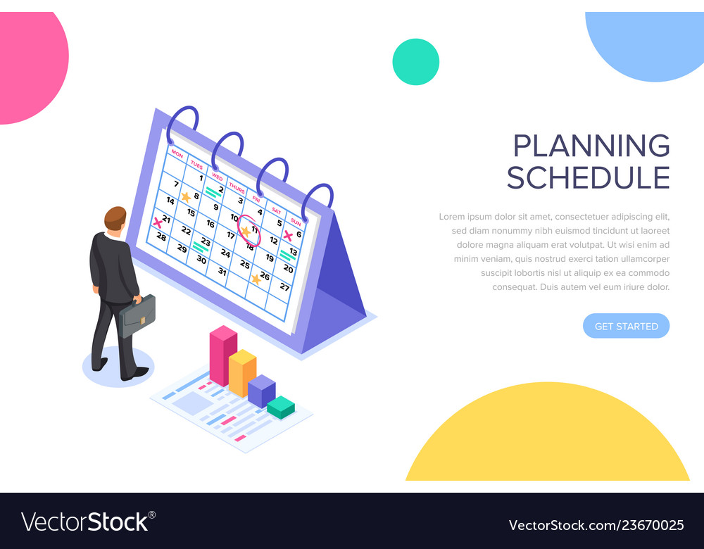 Planning schedule concept banner with characters