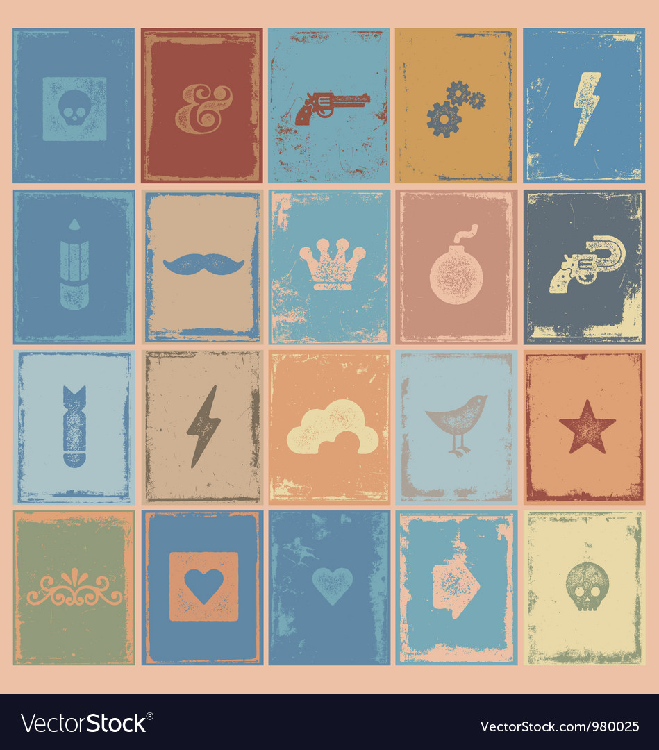Poster symbols grunge vector image