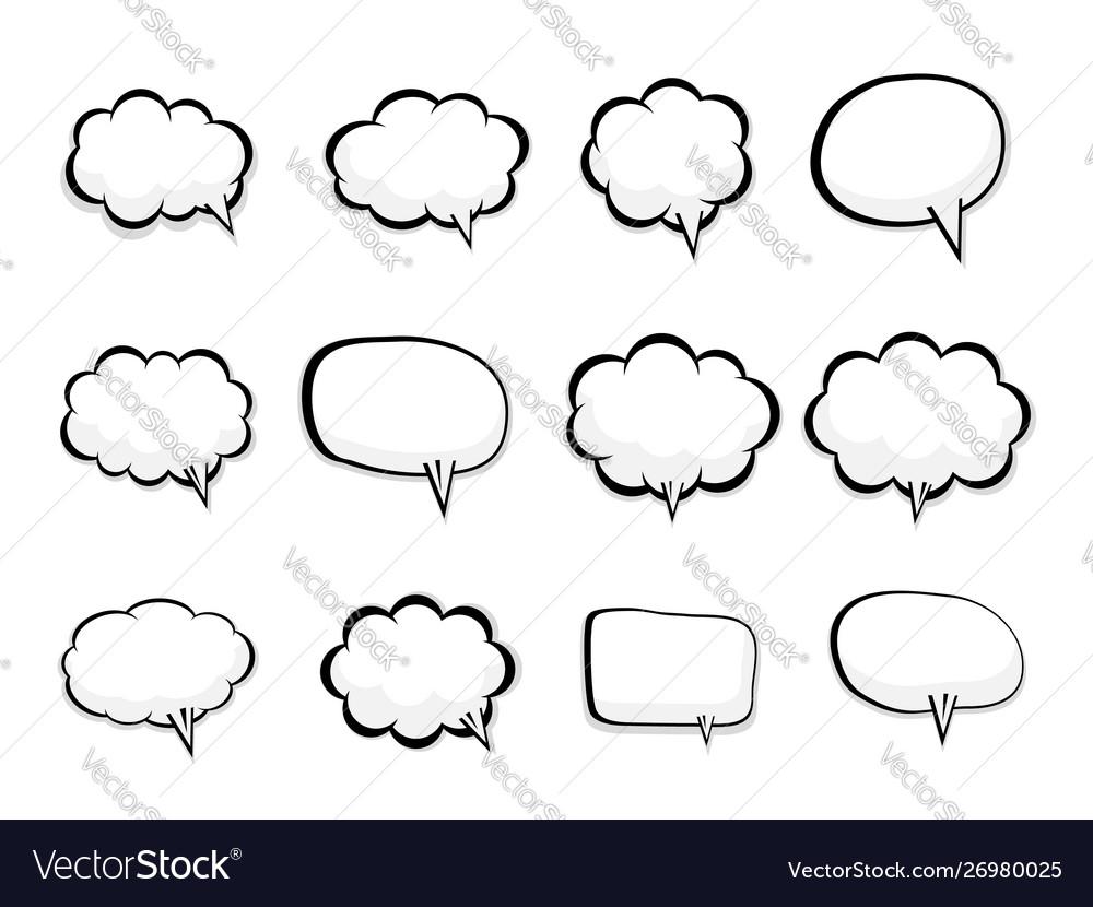 Set blank speech bubble