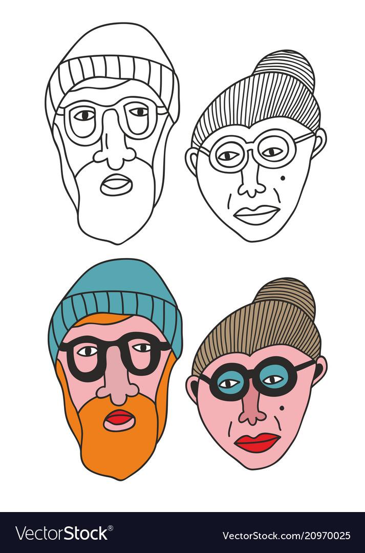 Set of old people portraits