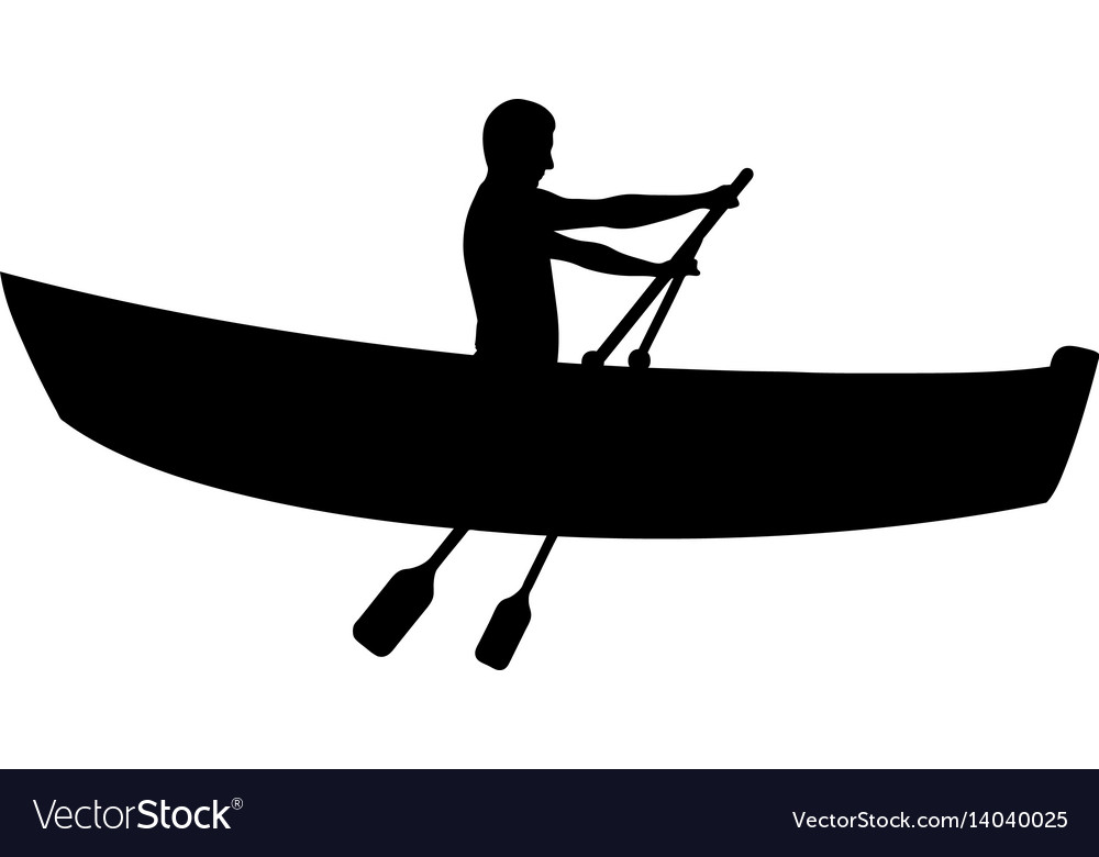Silhouette of man in boat rowing vector image