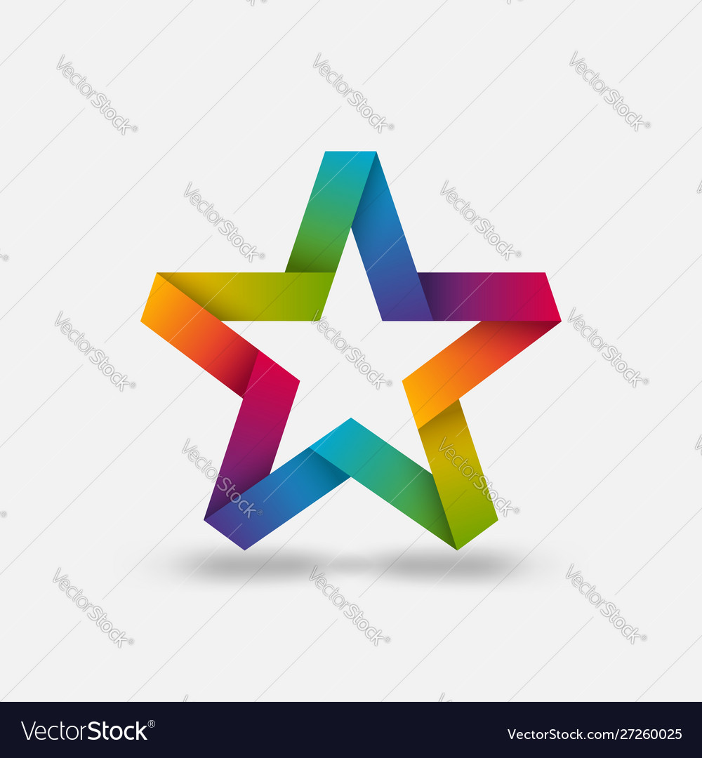 Star ribbon symbol in rainbow gradient colors