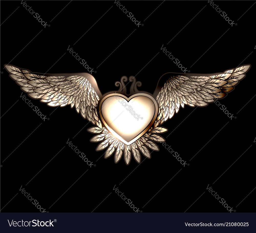 Steam punk style heart with wings