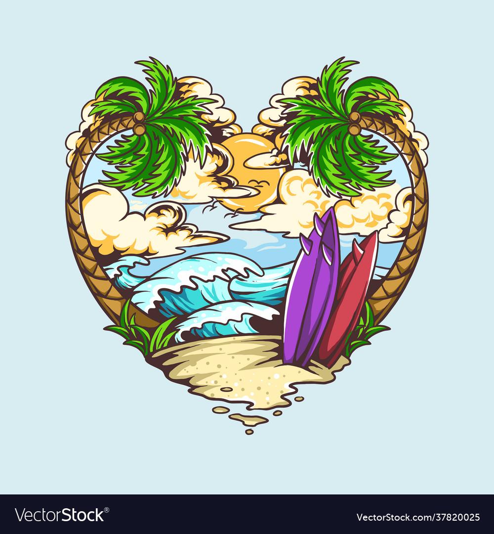 Summer love heart shape design contains beach