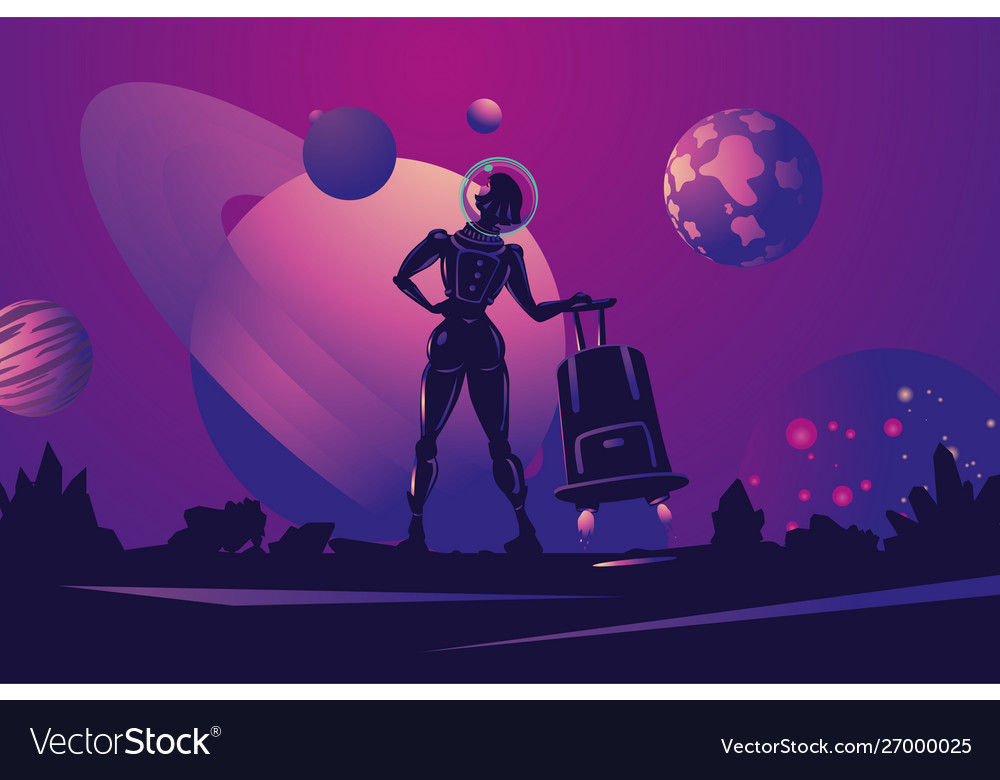Woman astronaut in spacesuit with travel bag