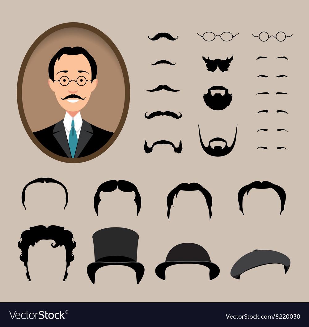 Big set Haircuts glasses beard mustache vector image
