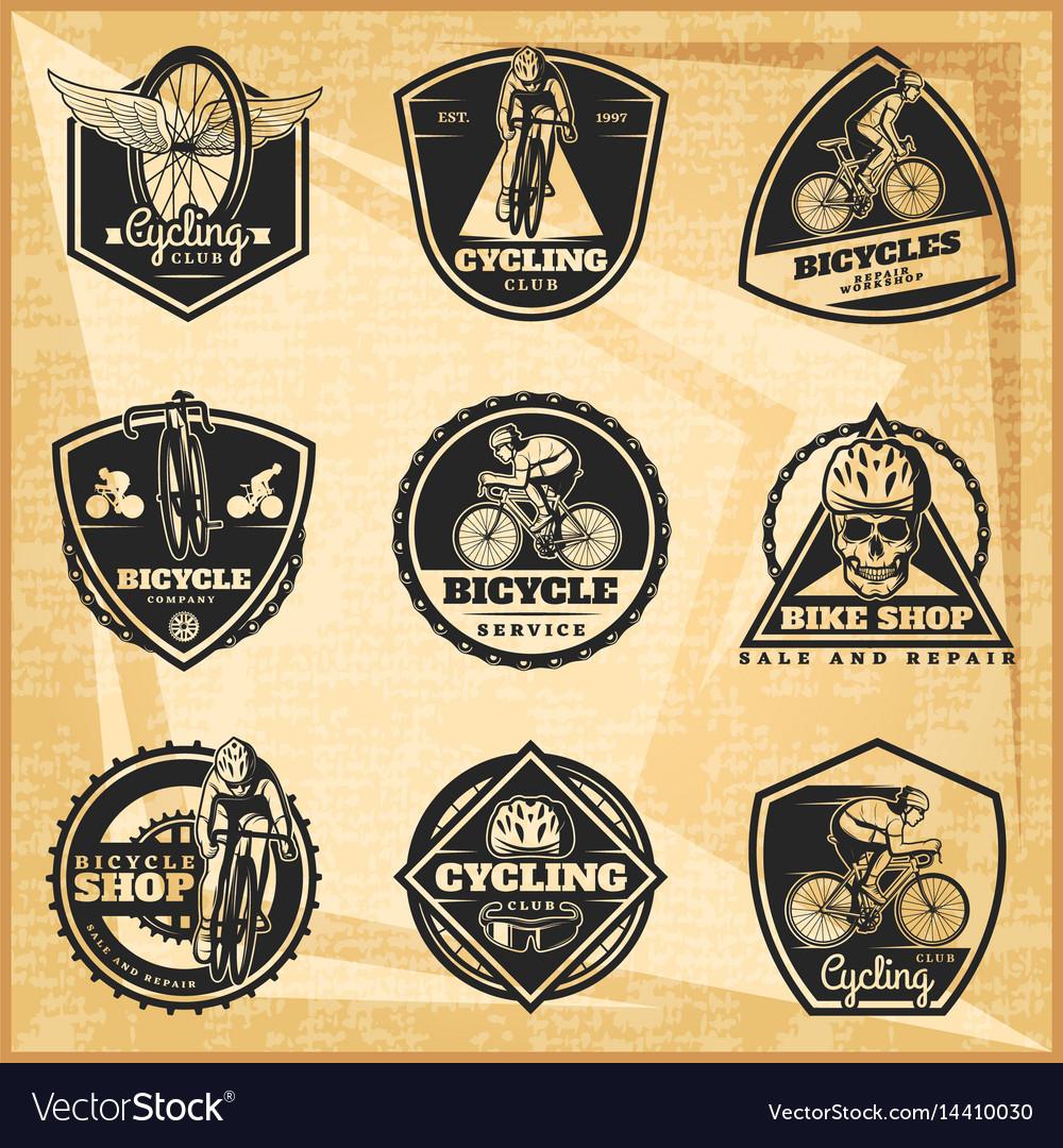 Black biking emblems set
