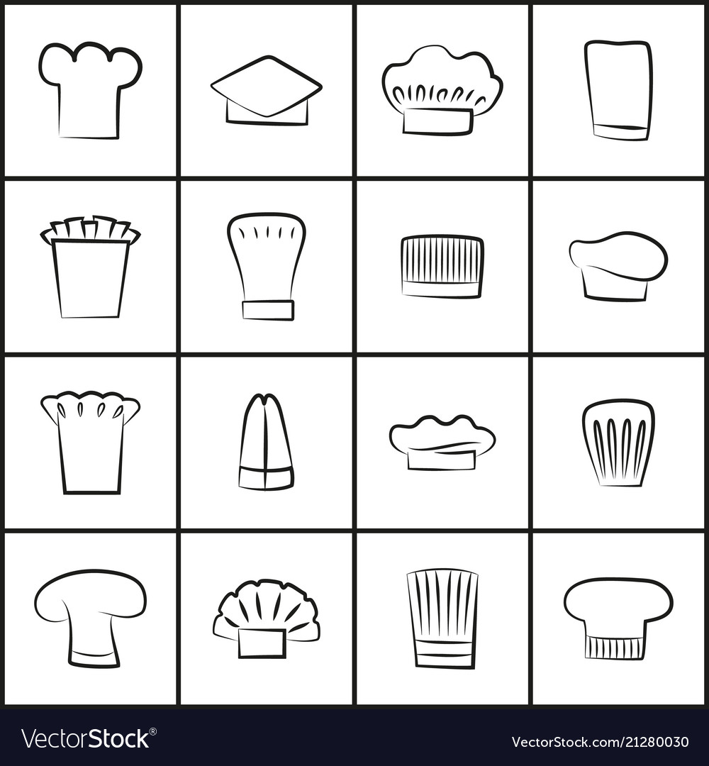 Chef hats of all shapes thin outline