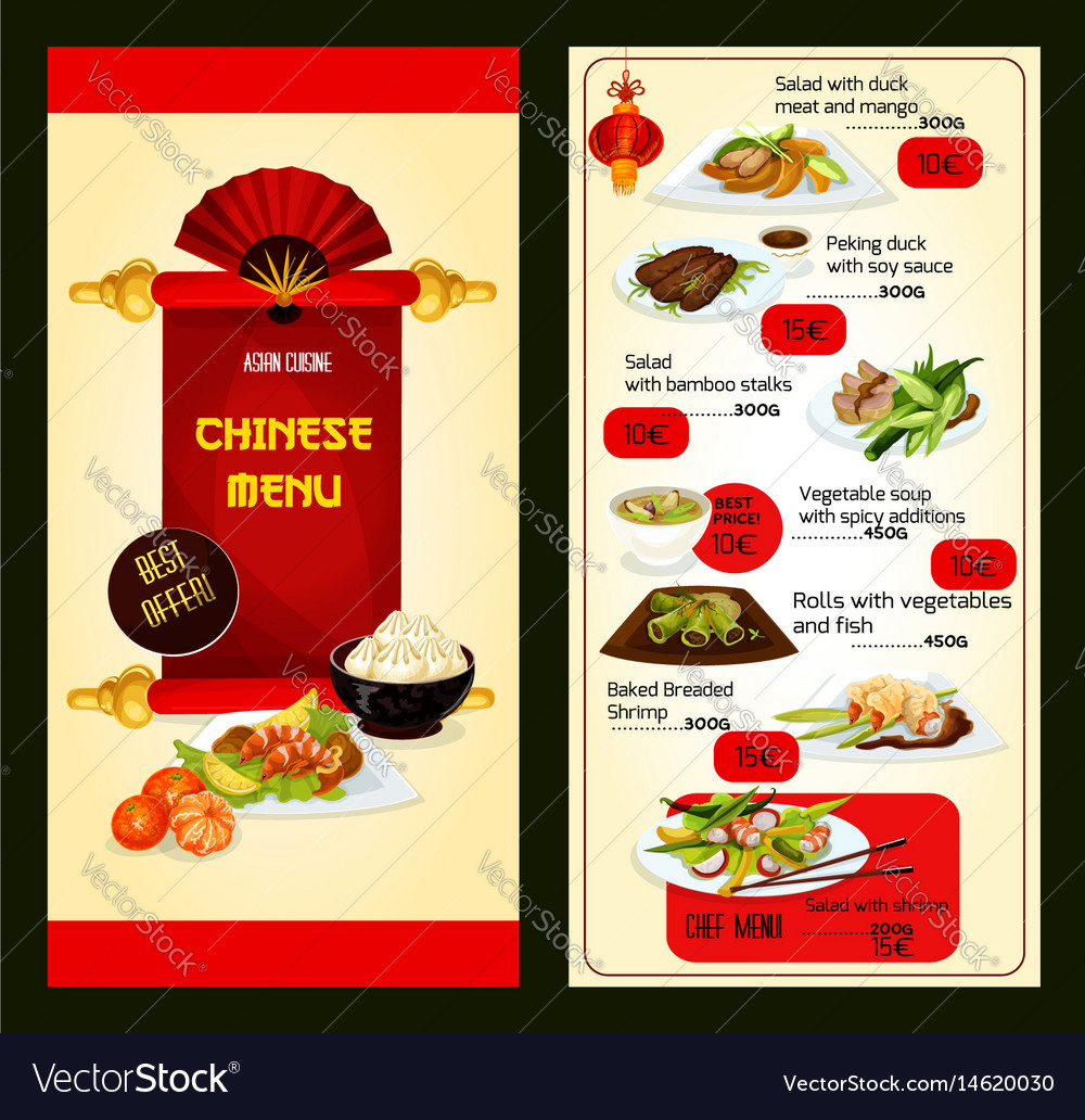 16f2a6757f4 Chinese restaurant menu with asian cuisine dishes Vector Image