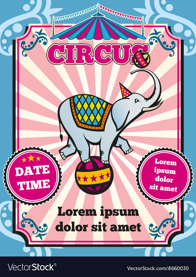 circus carnival color vintage template royalty free vector