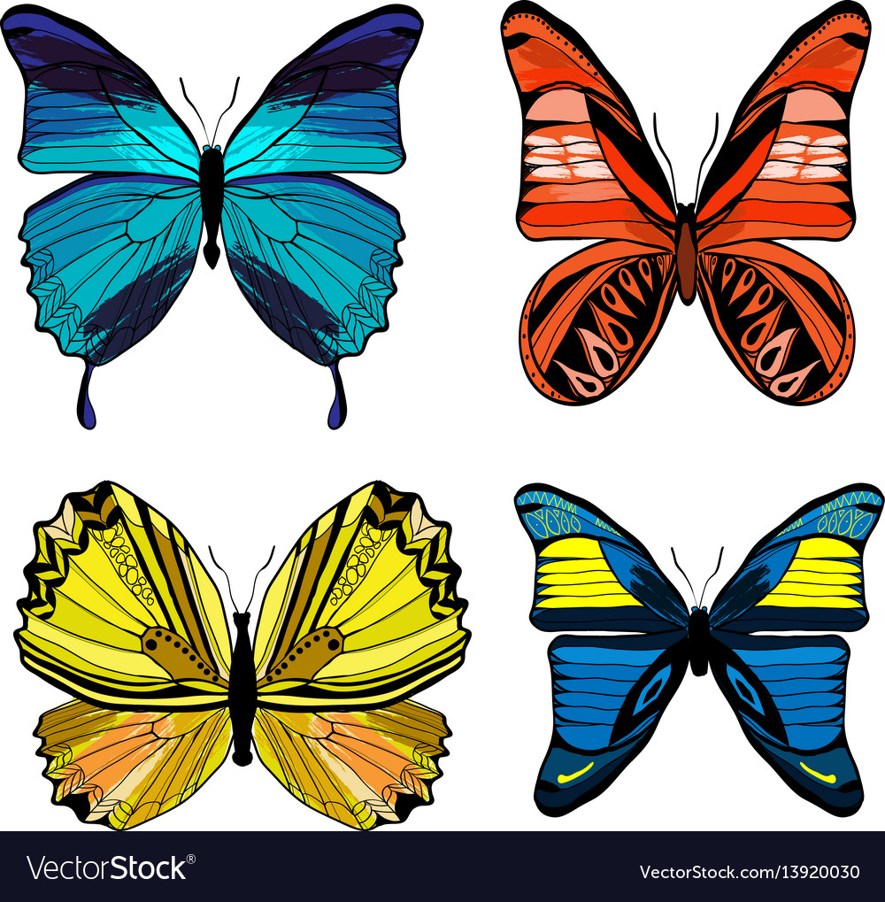Colorful graphic insects set