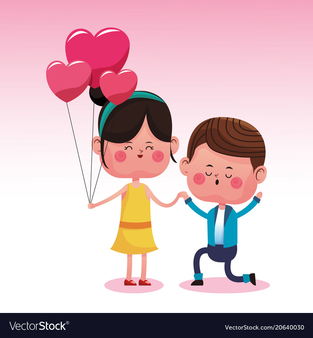 Cute Couple In Love Cartoons Royalty Free Vector Image