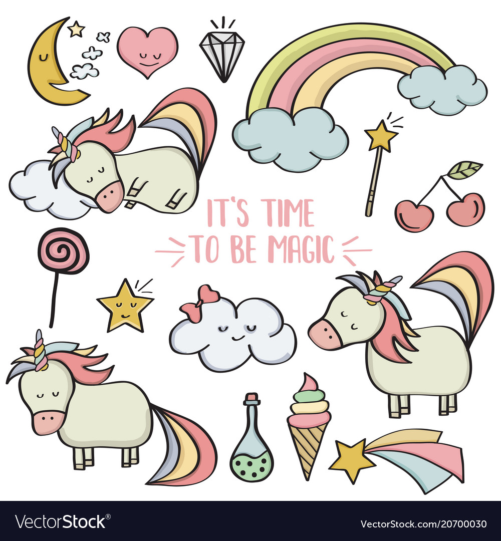 9c2f3563b0 Doodle items collection with unicorns and other Vector Image
