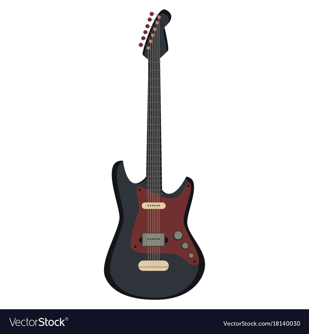Guitar electric silhouette icon rock music metal vector image