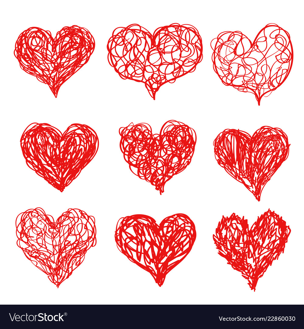 Heart icons hand drawn sketch set for valentines