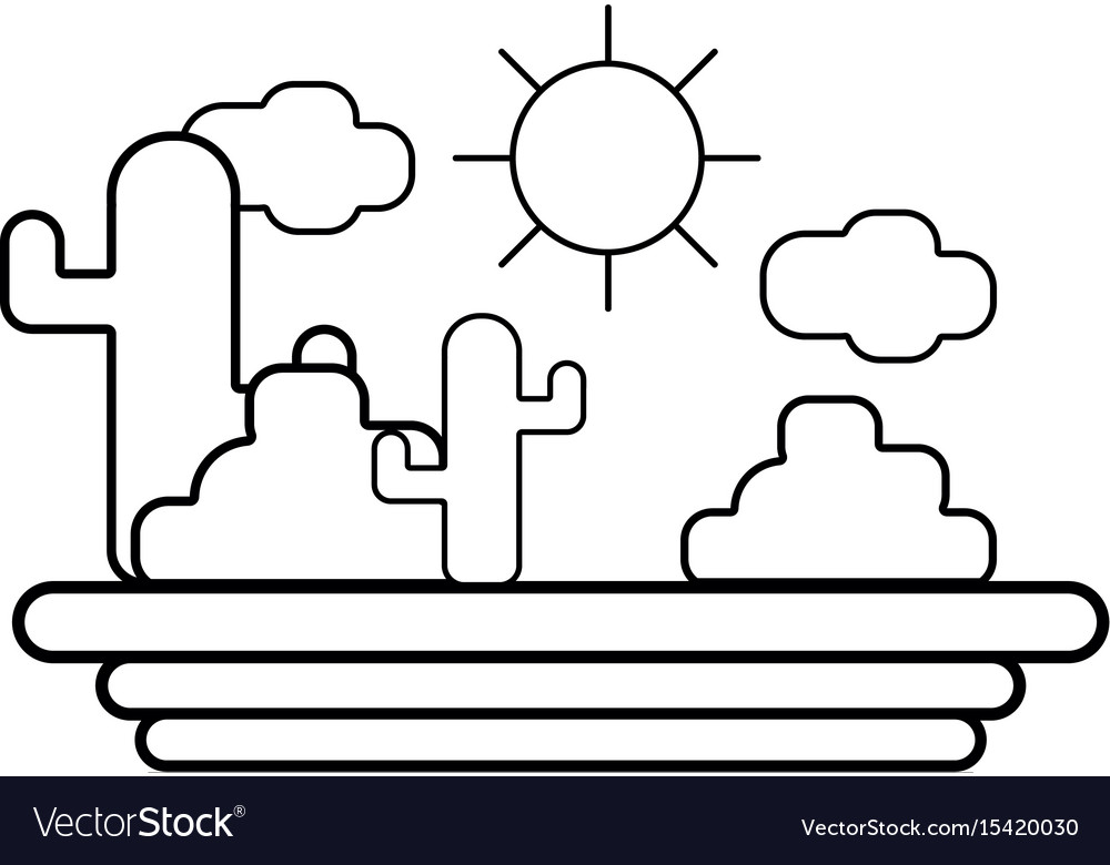 Line cactus with sun natural aventure vector image