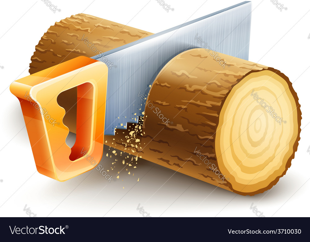 Manual saw cutting wooden