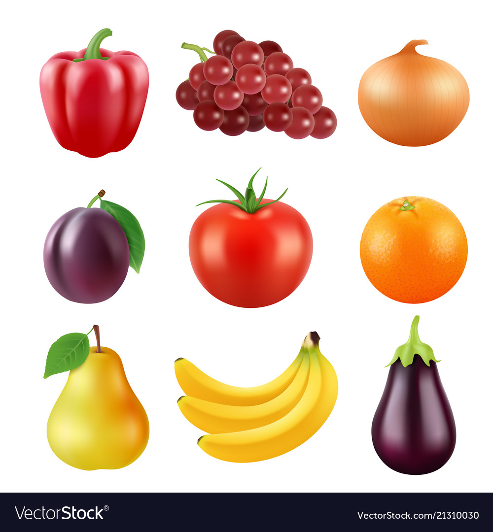 Realistic pictures of fresh fruits and
