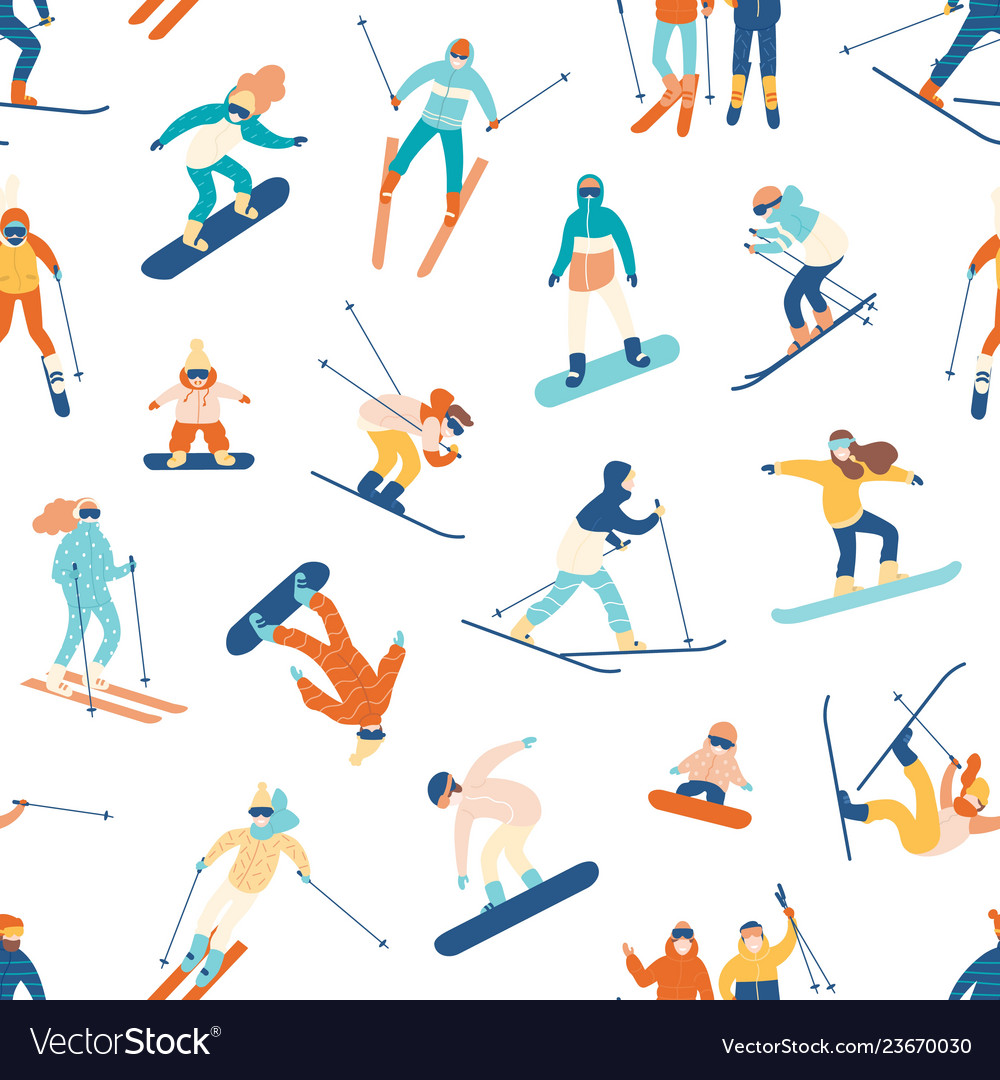 Seamless pattern with skiing and snowboarding