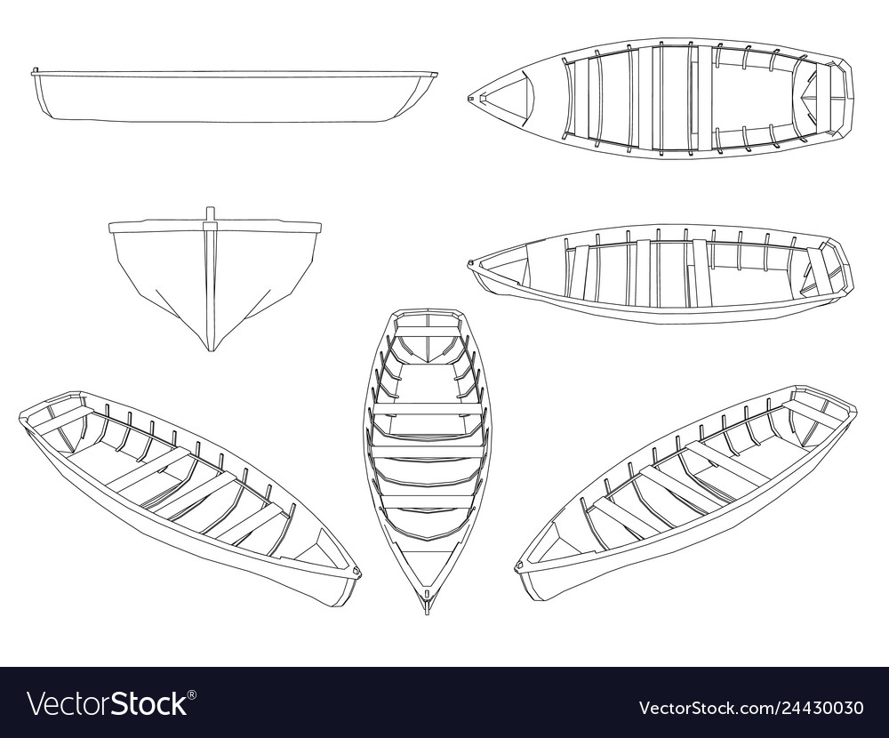 Set with contours of wooden boats boats of black