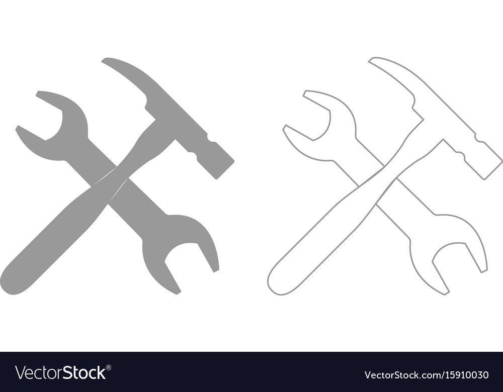 Wrench and hammer set icon