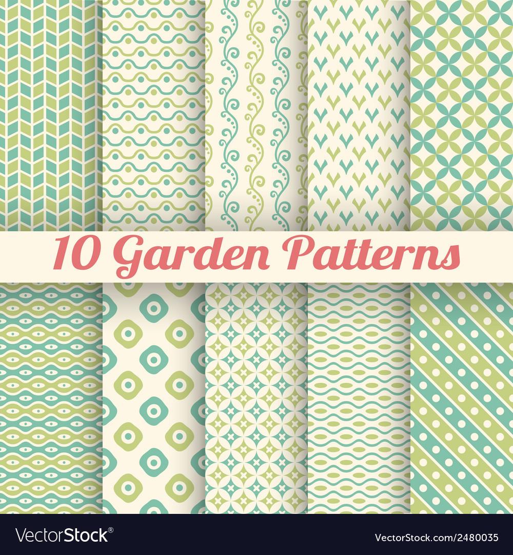 10 Green garden seamless patterns Abstract texture