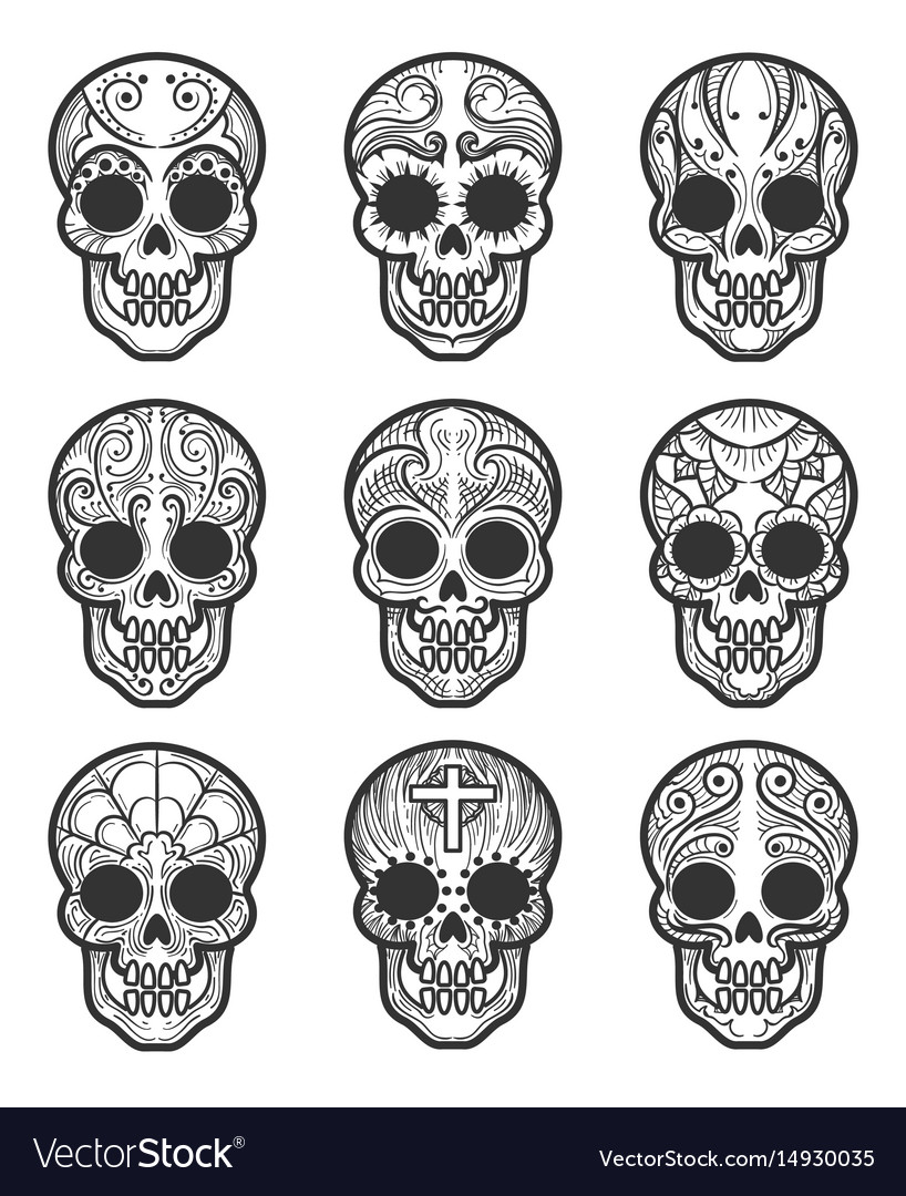 Calavera Or Sugar Skull Tattoo Set Royalty Free Vector Image
